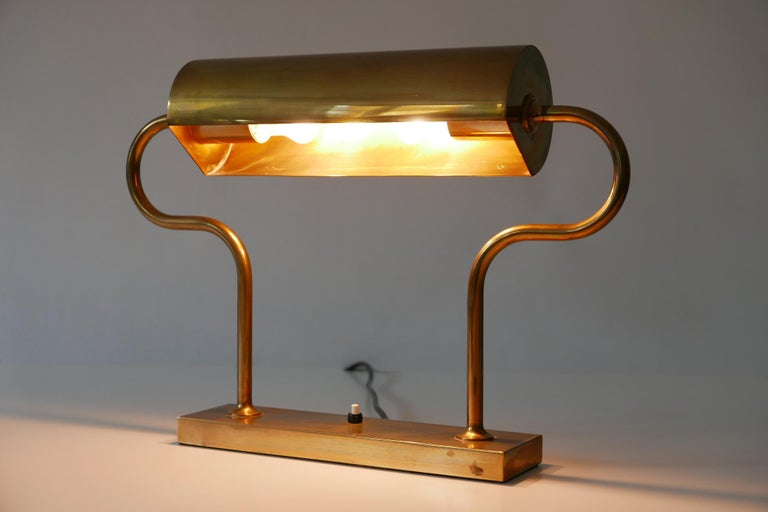 Rare Midcentury Brass Table Lamp or Desk Light by Florian Schulz, 1980s, Germany For Sale 5