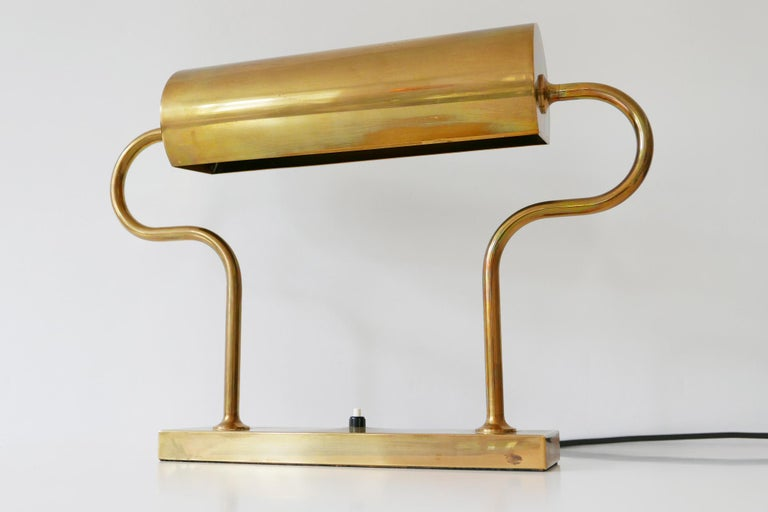 Rare Midcentury Brass Table Lamp or Desk Light by Florian Schulz, 1980s, Germany For Sale 7