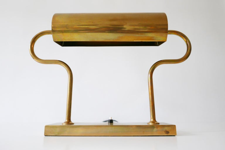 Rare Midcentury Brass Table Lamp or Desk Light by Florian Schulz, 1980s, Germany For Sale 8