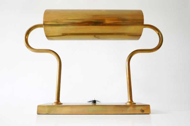 Rare Midcentury Brass Table Lamp or Desk Light by Florian Schulz, 1980s, Germany For Sale 12