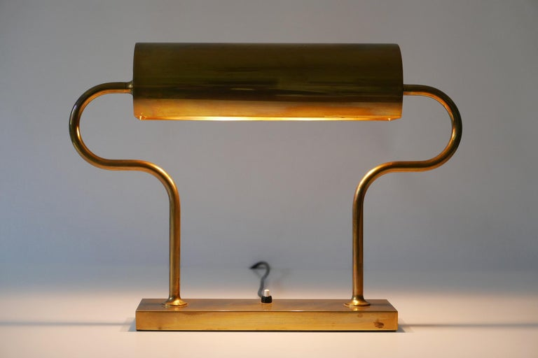 Rare Midcentury Brass Table Lamp or Desk Light by Florian Schulz, 1980s, Germany For Sale 13