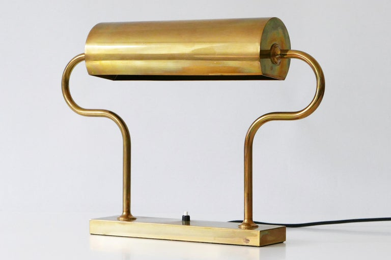 Rare Midcentury Brass Table Lamp or Desk Light by Florian Schulz, 1980s, Germany For Sale 14
