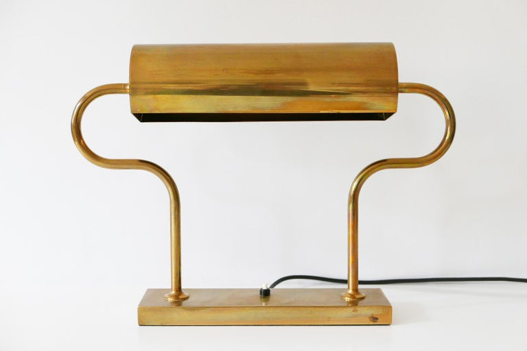 Mid-Century Modern Rare Midcentury Brass Table Lamp or Desk Light by Florian Schulz, 1980s, Germany For Sale