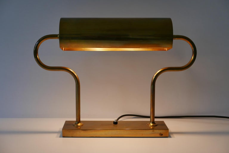 Polished Rare Midcentury Brass Table Lamp or Desk Light by Florian Schulz, 1980s, Germany For Sale