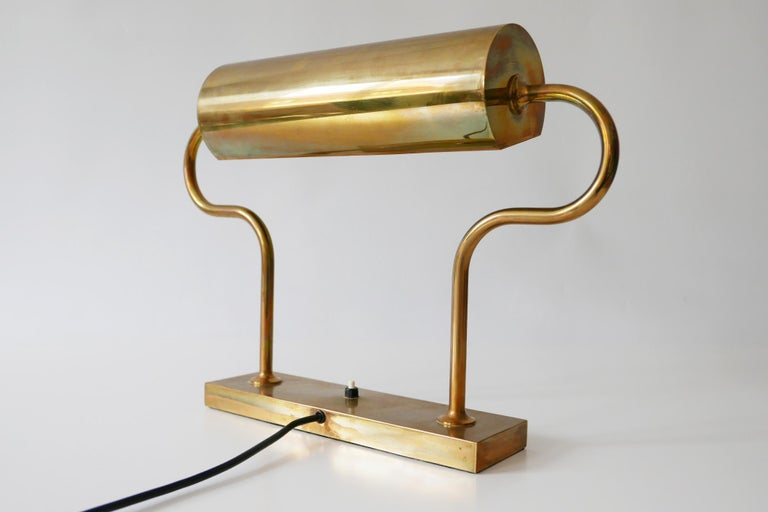 Rare Midcentury Brass Table Lamp or Desk Light by Florian Schulz, 1980s, Germany For Sale 2