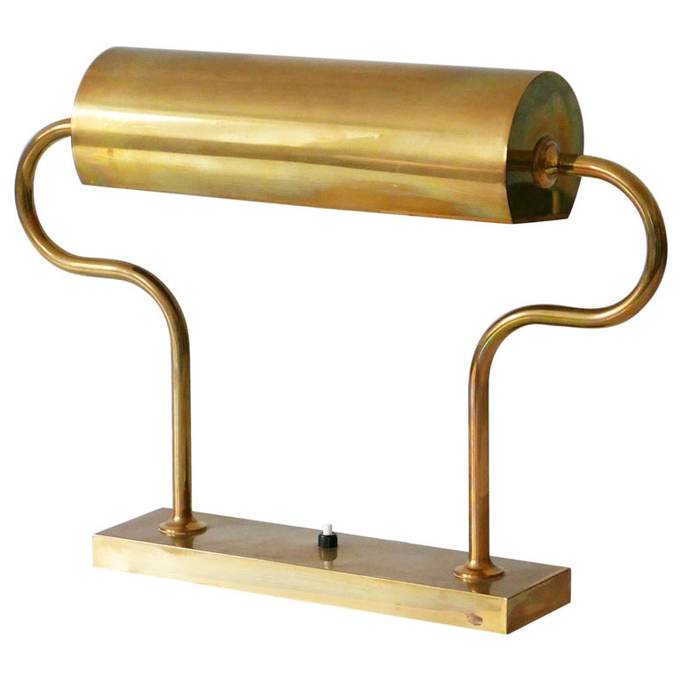 Rare Midcentury Brass Table Lamp or Desk Light by Florian Schulz, 1980s, Germany For Sale