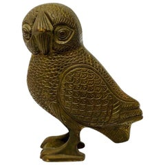 Rare Mid Century Bronze Owl of Athena Sculpture