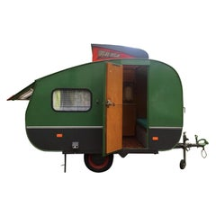 Rare Midcentury Dutch Design Oldtimer Caravan by Kema, Model Kolibri, 1960s