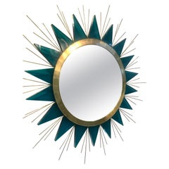 Rare Mid-Century Green Lucite and Brass Sunburst Mirror