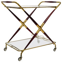Rare Midcentury Italian Folding Brass and Glass Serving Trolley by Cesare Lacca