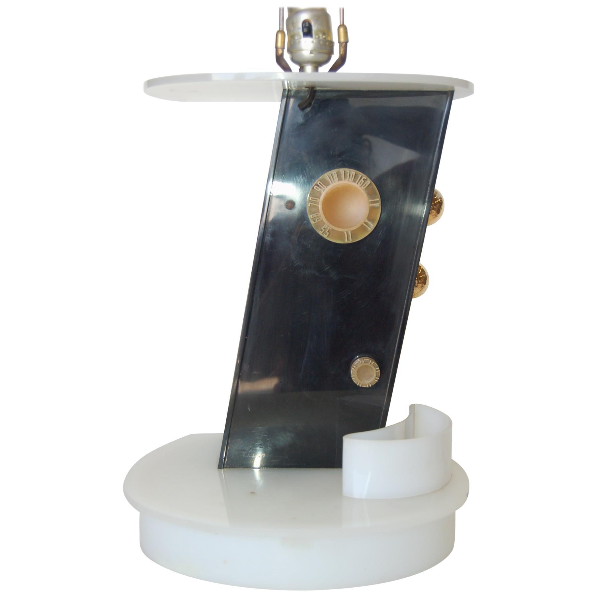 Rare Midcentury Lucite Radio Table Lamp by Moss Lighting