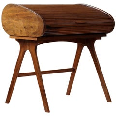 Rare Mid-Century Modern Desk with Roll-Top, Walnut Veneer, 1950s, Fully Restored