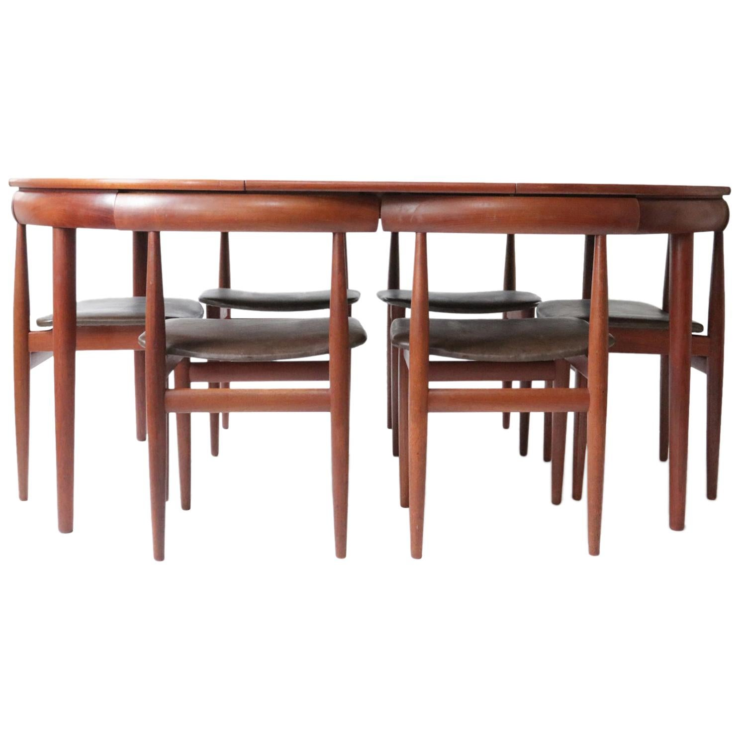 Rare Mid-Century Modern Hans Olsen Frem Rojle Extendable Dining Table 6 Chairs