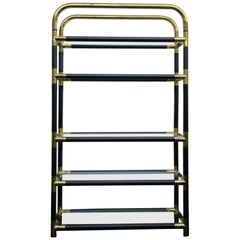 Rare Mid-Century Modern/Hollywood Regency Brass and Glass Bookshelf, 1970s
