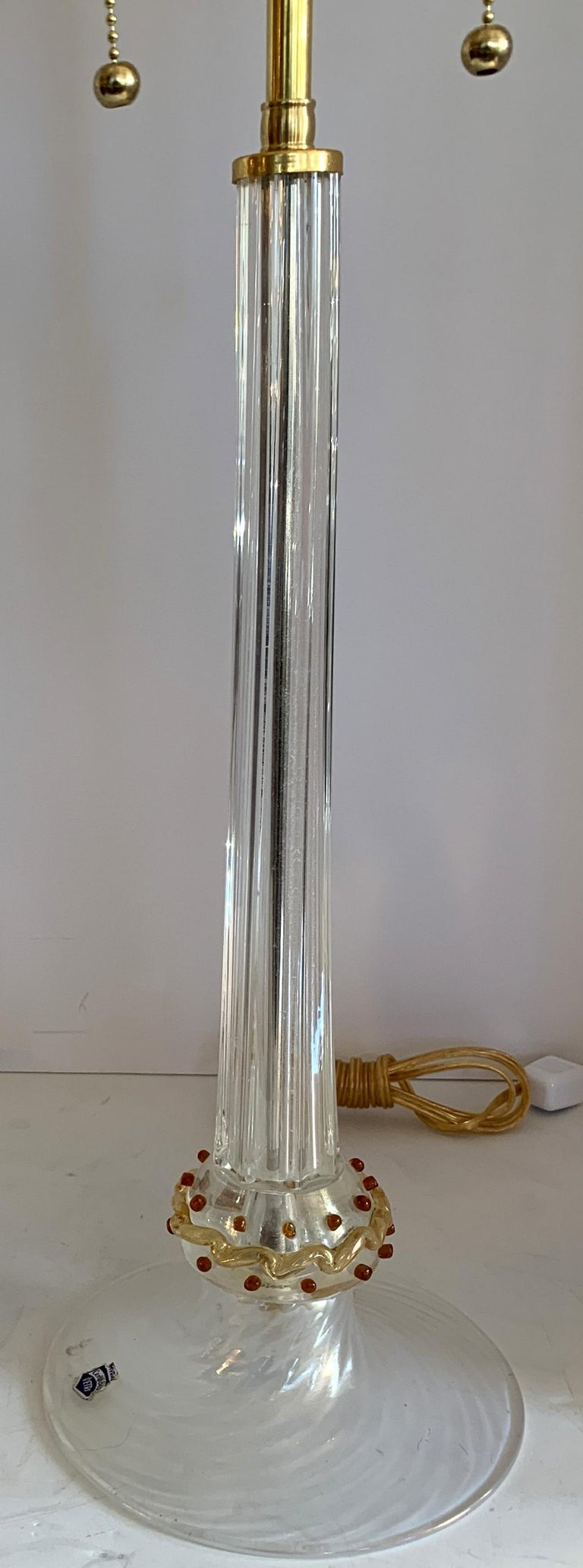 Rare Mid-Century Modern Italian Murano Venetian Iridescent Lamps Cenedese, Pair In Good Condition For Sale In Roslyn, NY