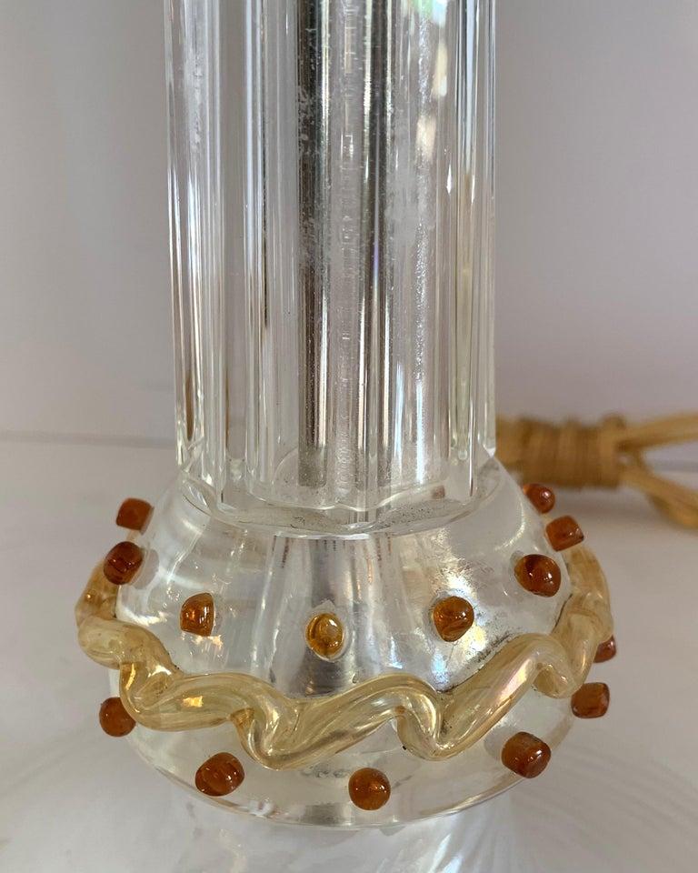 Rare Mid-Century Modern Italian Murano Venetian Iridescent Lamps Cenedese, Pair For Sale 1