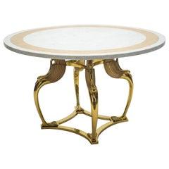 Rare Mid-Century Modern Robert Thibier Brass Marble Dining Table, 1970s