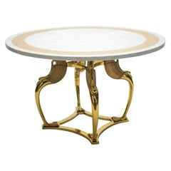 Rare Mid-Century Modern Robert Thibier Brass Marble Dining Table, 1970s