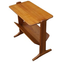 Rare Mid-Century Modern Solid Cherrywood End or Side Table with Book Trough