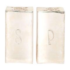 Rare Mid-Century Modern Sterling Silver Salt & Pepper Cellars Signed Allan Adler