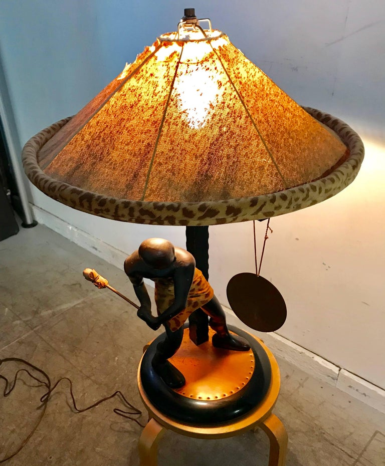 Brass Rare Mid-Century Modern Table Lamp, Nubian Man Hitting Gong, Moss Lamp Co For Sale