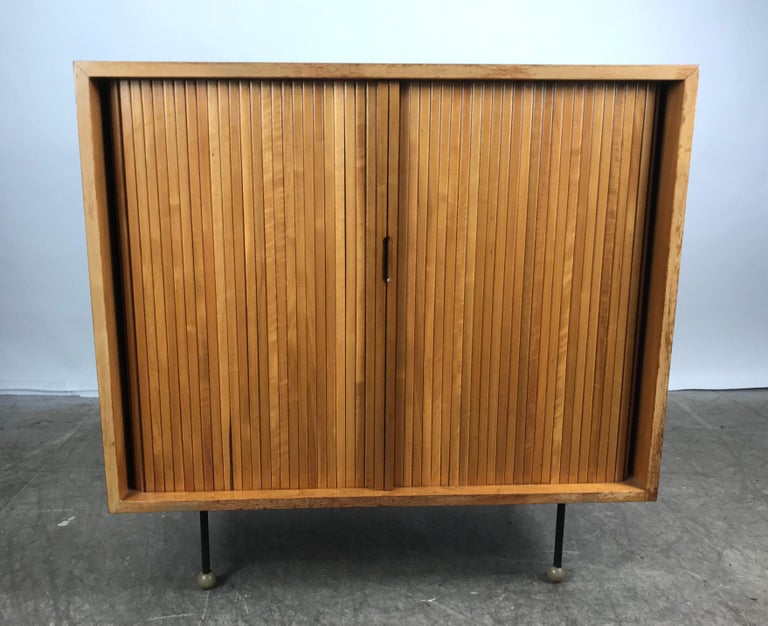 Rare Mid-Century Modern Tambor Door Cabinet by Greta Grossman In Good Condition For Sale In Buffalo, NY