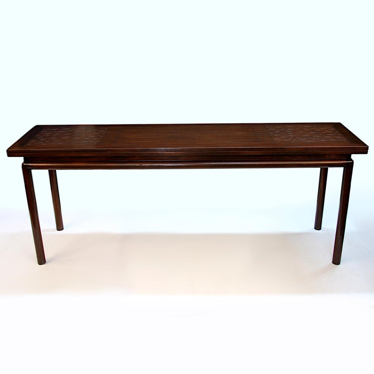 Rare Mid-Century Modern Thistle Convertible Console Dining Table by Kittinger In Good Condition For Sale In Lafayette, IN