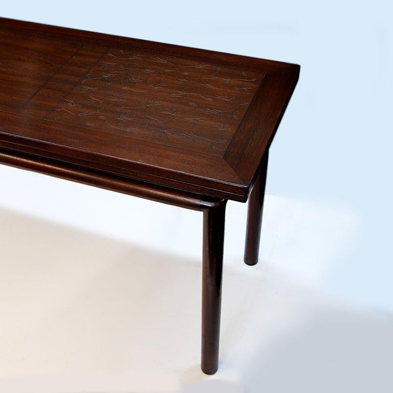 Rare Mid-Century Modern Thistle Convertible Console Dining Table by Kittinger For Sale 1