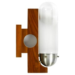 Rare Mid-Century Modern Wood Wall Lamp with Glass Shade in Art Deco Design