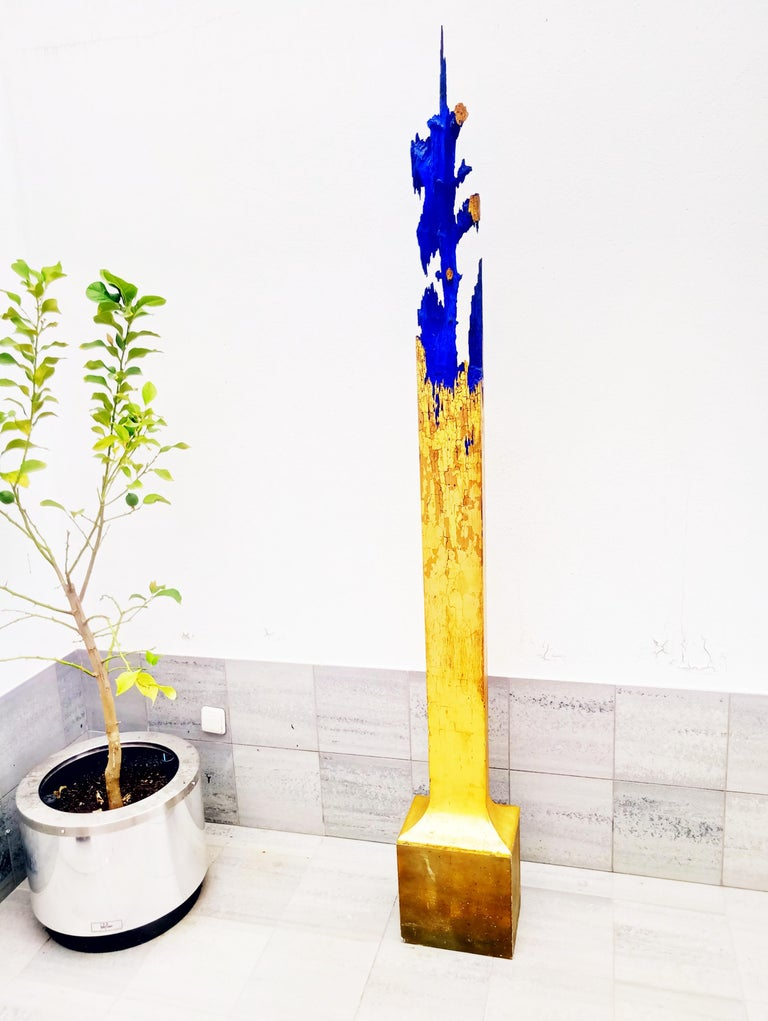European Rare Midcentury Monumental Abstract Wooden and Gold Sculpture For Sale