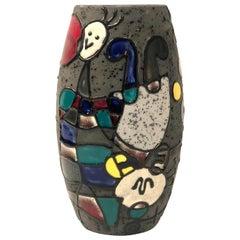 Rare Midcentury Multicolor Italian Ceramic Vase After Joan Miró by Lg Felie