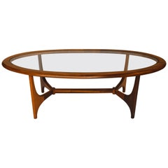 Rare Midcentury Oval Glass Coffee Table
