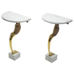 Rare Midcentury Pair of Brass Marble Console Tables Robert Thibier, 1970s