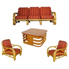 Rare Midcentury Rattan and Mahogany Living Room Set