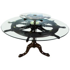 Rare Midcentury Ship's Wheel Center Table