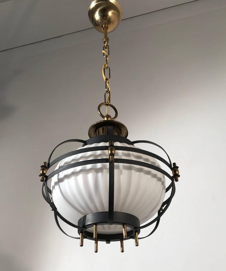 Rare Midcentury Modern Brass, Metal Cage & Glass Shade Design Pendant Light  For Sale 7