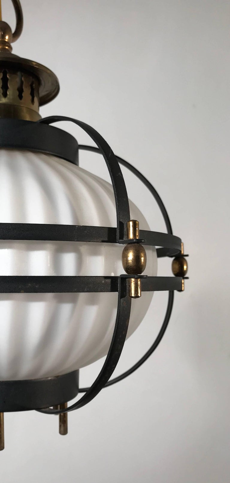 20th Century Rare Midcentury Modern Brass, Metal Cage & Glass Shade Design Pendant Light  For Sale