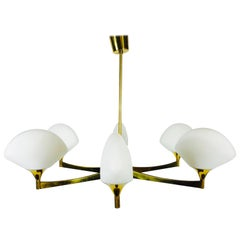 Rare Midcentury Brass and Opaline Glass Chandelier, 1960s