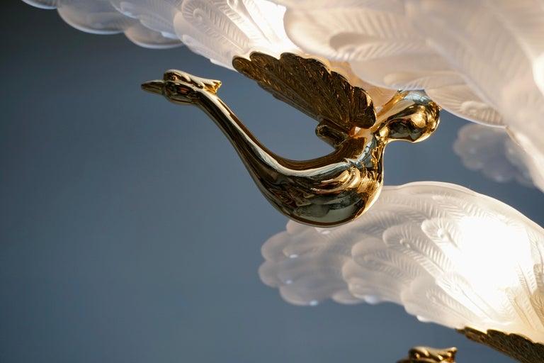 Rare Midcentury Chandelier / Pendant with Golden Bronze Glass Peacock Sculptures For Sale 7