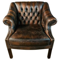 Rare Old Chesterfield Lutyen's Style Viceroy's Brown Leather Armchair vintage