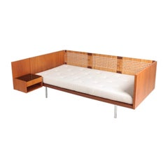 Rare Midcentury Daybed in Teak, Cane and Boucle Wool by Hans Wegner, 1960s
