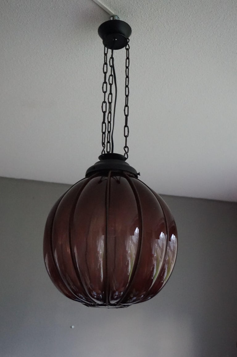 Rare Midcentury Handcrafted Wrought Iron and Mouthblown Glass Venetian Pendant For Sale 10
