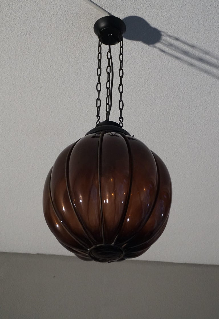 20th Century Rare Midcentury Handcrafted Wrought Iron and Mouthblown Glass Venetian Pendant For Sale