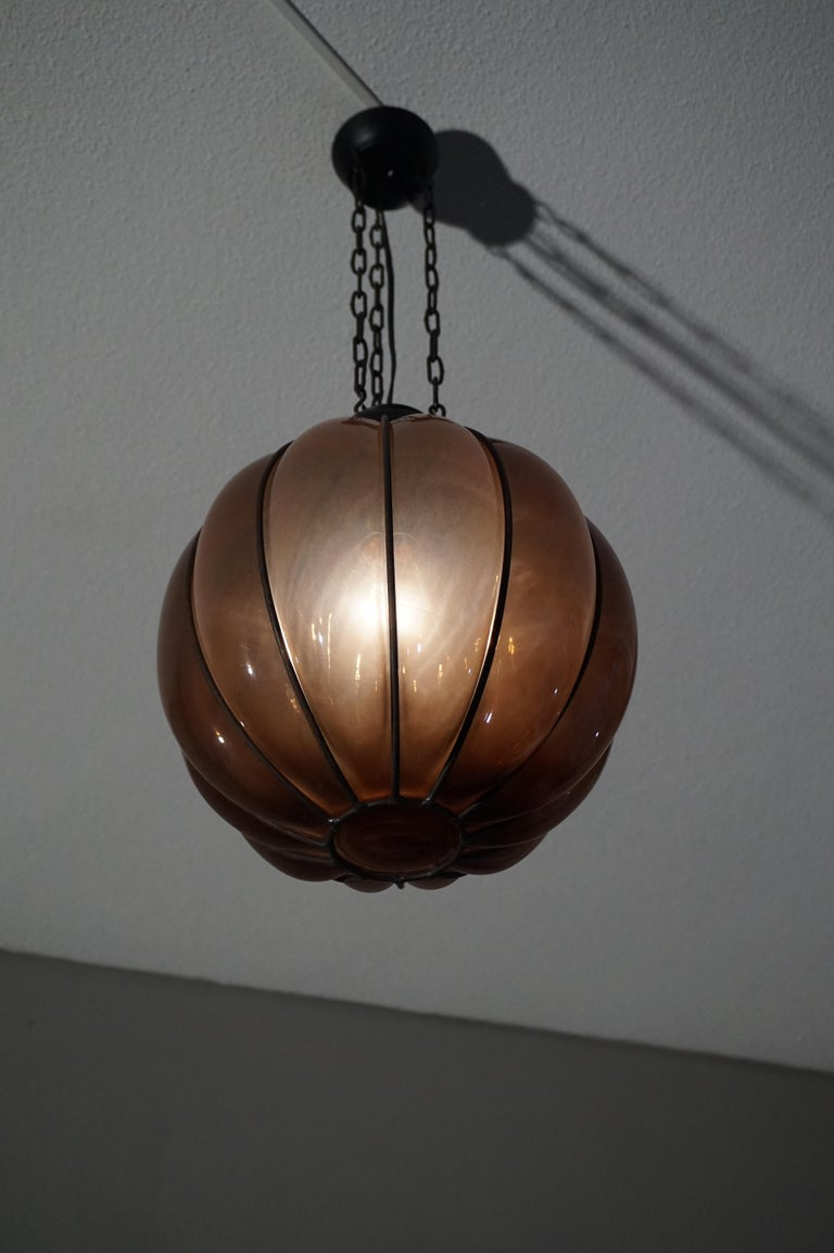 Rare Midcentury Handcrafted Wrought Iron and Mouthblown Glass Venetian Pendant For Sale 2