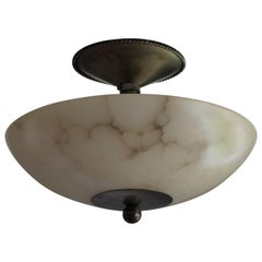 Rare Midcentury Made Alabaster & Wrought Iron Flush Mount / Short Pendant Light