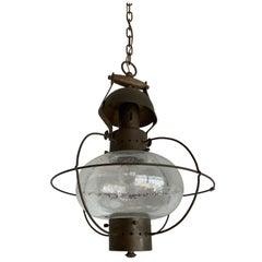Rare, Midcentury Made Brass and Glass Ship Pendant Light / Storm Lantern Design