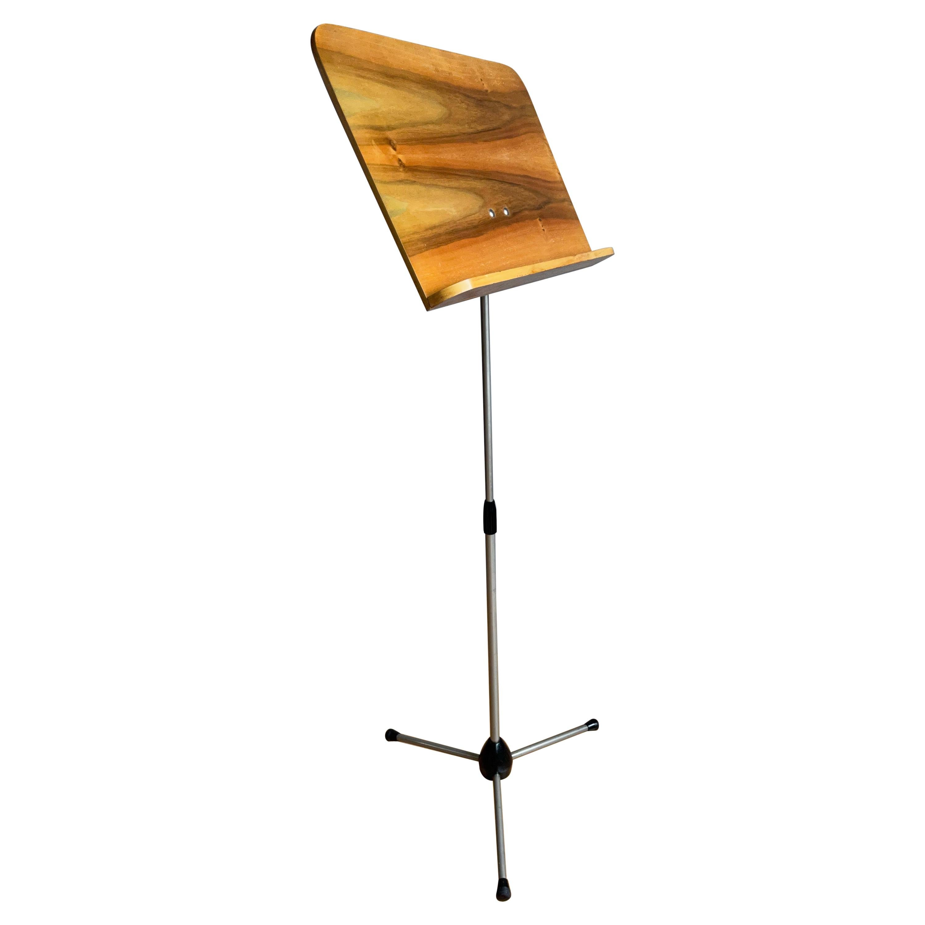 Rare Midcentury Modern Adjustable Wooden & Iron Tripod Music Paper Lectern Stand