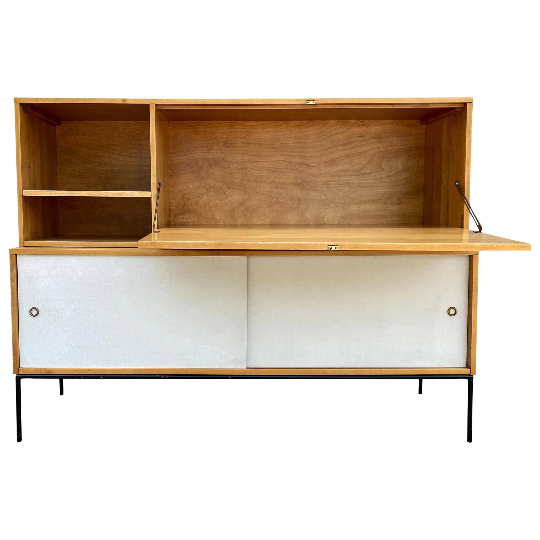 Rare Midcentury Paul McCobb #1562 Drop Lid Desk on Low Credenza Maple White