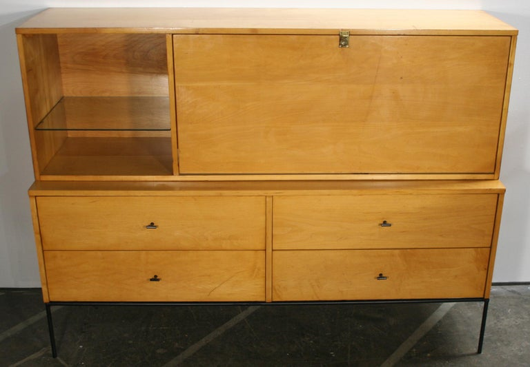 Mid-Century Modern Rare Midcentury Paul McCobb #1562 Drop Lid Desk W/Organizer Maple T Pulls For Sale