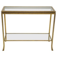 Rare Mid Century Robert Thibier Gilt Wrought Iron Gold Leaf Console Table, 1960s
